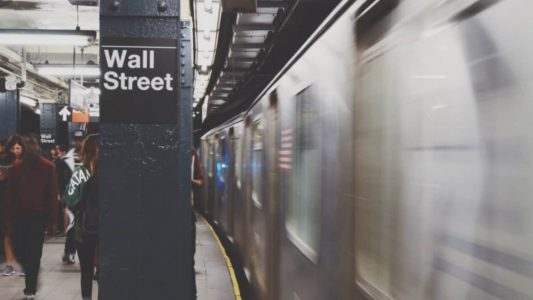 Picture of Wall Street subway stop in a subway station